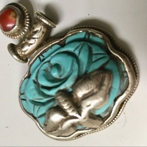 Sterling silver & turquoise carved flower pendant